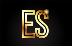 conception d'icône de combinaison de logo de la lettre es e s d'alphabet d'or Image stock