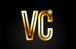 conception d'icône de combinaison de logo de la lettre vc v c d'alphabet d'or Photographie stock libre de droits