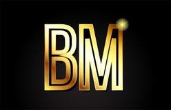 conception d'icône de combinaison de logo de la nomenclature b m de lettre d'alphabet d'or Photographie stock libre de droits