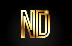 conception d'icône de combinaison de logo de ND n d de lettre d'alphabet d'or Photographie stock