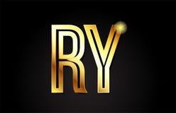 conception d'icône de combinaison de logo de relais r y de lettre d'alphabet d'or Photo libre de droits