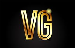 conception d'icône de combinaison de logo de vg v g de lettre d'alphabet d'or Photo stock