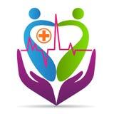 Conception d'icône de vecteur de symbole d'hôpital d'amour de soins de santé de bien-être de logo de soin de coeur de personnes illustration libre de droits