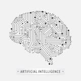 Conception d'icône d'intelligence artificielle de cerveau illustration de vecteur