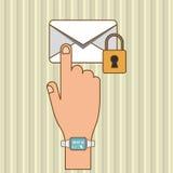 Conception d'icône d'enveloppe, illustration de vecteur Images stock