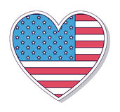 Conception d'icône d'isolement par coeur patriotique Photographie stock