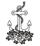 Conception d'icône d'isolement par tatouage d'ancre illustration libre de droits
