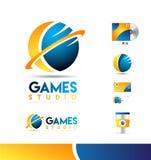 Conception d'icône de logo de la sphère 3d illustration stock