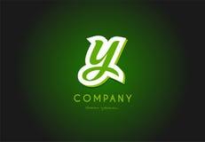 Conception d'icône de vecteur de société du vert 3d de logo de lettre d'alphabet de Y Images libres de droits