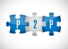 Conception d'illustration de morceaux de puzzle de P2P illustration de vecteur