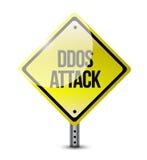 Conception d'illustration de panneau routier d'attaque de Ddos Images stock
