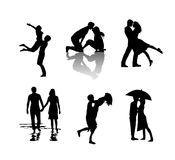 Conception d'illustration de silhouette de couples Image stock