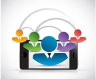 Conception d'illustration de téléphone de lien réseau de personnes illustration stock