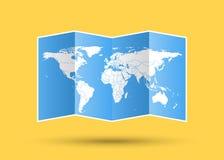 Conception d'illustration de vecteur d'icône de géographie de papier de carte du monde illustration stock