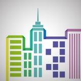 Conception d'immobiliers, bâtiment et concept de ville, vecteur editable Image libre de droits