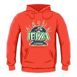 Conception d'impression de Hoodie de vecteur d'insigne d'Ibiza Image libre de droits
