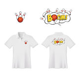 Conception d'impression de T-shirt de polo de bowling de vecteur Images stock