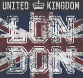 Conception d'impression de T-shirt, graphiques de typographie, Londres Royaume-Uni, label grunge d'Applique d'insigne d'illustrat Image libre de droits