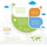 Conception d'Infographic, concept vert d'énergie Images stock