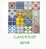 Conception 2018 d'insecte de calibre de calendrier de bureau Tuiles décoratives Photographie stock