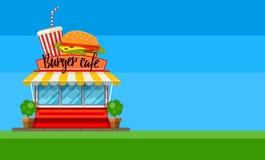 Conception d'insecte ou de bannière de café d'aliments de préparation rapide avec l'hamburger Photos libres de droits