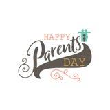 Conception d'insigne de jour de parents Autocollant, timbre, logo - fait main Avec l'utilisation des éléments de typographie, cal Photos stock
