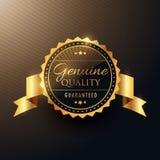 Conception d'or d'insigne de label de récompense véritable de qualité avec le ruban illustration libre de droits