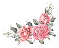Conception d'invitation d'aquarelle avec le bouquet de compositions florales peintes à la main de fleurs d'isolement sur le fond  Photos libres de droits