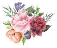 Conception d'invitation d'aquarelle avec le bouquet de compositions florales peintes à la main de fleurs d'isolement sur le fond  Photo stock