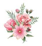 Conception d'invitation d'aquarelle avec le bouquet des fleurs, compositions florales peintes à la main d'isolement sur le fond b Photographie stock