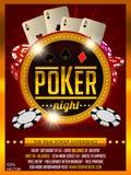 Conception d'invitation de tournoi de tisonnier de casino Texte d'or avec jouer à la puce et aux cartes illustration de vecteur