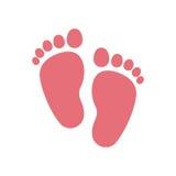 Conception d'isolement d'impression de pied de bébé illustration libre de droits