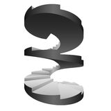 Conception d'isolement par escalier circulaire noir et blanc Photos libres de droits
