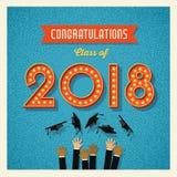 conception 2018 d'obtention du diplôme avec des nombres de signe d'ampoule Photos stock