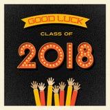 conception 2018 d'obtention du diplôme avec des nombres de signe d'ampoule Images stock