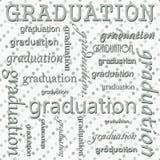 Conception d'obtention du diplôme avec la polka grise et blanche Dot Tile Pattern Rep Photos stock