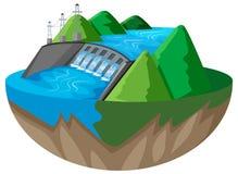conception 3D pour le barrage dans la montagne illustration de vecteur