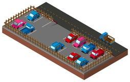 conception 3D pour le carpark par la route Image stock
