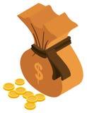 conception 3D pour le moneybag et les pièces de monnaie d'or illustration libre de droits