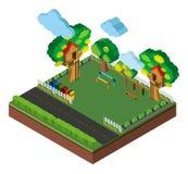 conception 3D pour le terrain de jeu et la route Photo stock