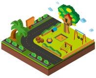 conception 3D pour le terrain de jeu par la route Images stock