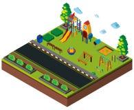 conception 3D pour le terrain de jeu par la route Photo libre de droits