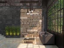 Conception d'un intérieur d'un hall de bureau avec un coin pour le style de grenier de repos visualisation 3d illustration libre de droits