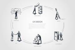 Conception d'UX, structurant, recherche d'utilisateur, expérience d'utilisateur, hci, structurant illustration stock