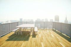 Conception de balcon en bois Photographie stock