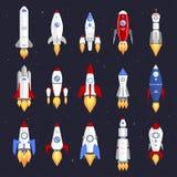Conception de bande dessinée de fusée de bateau de technologie de vecteur Photo libre de droits