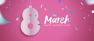 Conception 2018 de bannière de célébration d'amusement de jour du ` s de femmes Photographie stock libre de droits