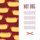 Conception de bannière d'aliments de préparation rapide avec les hot-dogs et la saucisse Images libres de droits
