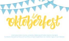 Conception de bannière d'Oktoberfest pour le festival allemand Oktoberfest de bière avec le lettrage moderne Photo stock
