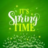 Conception de bannière de vecteur de printemps à l'arrière-plan vert texturisé illustration libre de droits